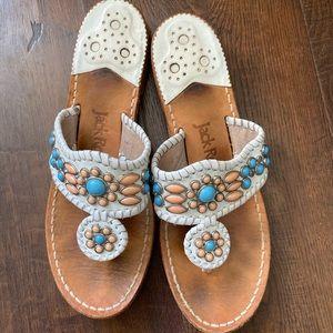 White adorned Jack Rogers sandals!